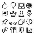 Web menu navigation line icons - social media