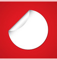 white blank circle sticker on red background vector image vector image
