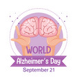 world alzheimers day logo or banner with brain vector image vector image