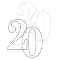 2020 outline vector image vector image