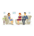 a couple visiting a psychologist - cartoon people vector image