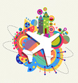 Air plane travel icon concept with color shapes vector image