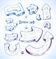 arrows on a school notebook cell background vector image