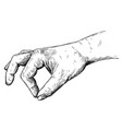 artistic or drawing of hand holding something vector image vector image