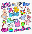 bashower doodle with newborn toys vector image vector image