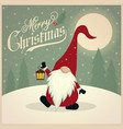 beautiful retro christmas card with gnome vector image vector image