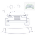 black and white line drawing car coloring page vector image