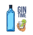 Blue gin bottle hand holding glass with ice and vector image vector image