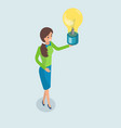 business idea woman holding lightbulb in hands vector image