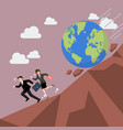 businessman running away from planet earth that vector image vector image