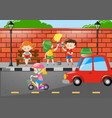 children painting wall by the road vector image