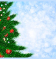 christmas template with fir tree blurred vector image