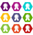circle badge wih ribbons icon set color hexahedron vector image