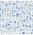 Cityscape doodles Seamless pattern vector image