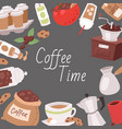 coffee cartoon frame objects vector image