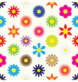 colorful simple retro small flowers set seamless vector image vector image