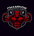 coloured badge of a bull bodybuilder on the dark vector image vector image