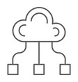 community thin line icon game and team cloud vector image vector image