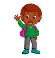 cute boy go to school cartoon vector image vector image