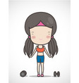 cute girl exercising hold in dumbbell hand vector image vector image