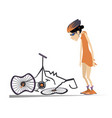 cyclist woman and a broken bike isolated vector image vector image