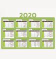 desk calendar for year 2020 in green design vector image vector image
