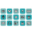 doodle icon set media vector image vector image