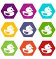 duck icon set color hexahedron vector image vector image