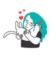 female hugs cat vector image vector image