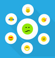 flat icon face set of grin displeased love and vector image vector image