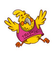 funny bright yellow parrot in pink shirt vector image vector image