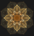 golden floral circular pattern on black background vector image