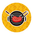grill barbecue meat steak fork and tongs vector image vector image