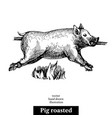hand drawn sketch roasted pig black and white vector image vector image