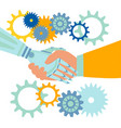 handshake robot and man vector image vector image