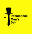 international mens day tie and hat on a yellow vector image vector image