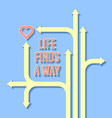 life finds a way motivational quote with paths vector image