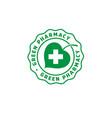 logo green pharmacy leaf cross vector image vector image