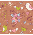 Love seamless texture with flowers and birds vector image vector image