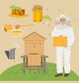 man beekeer in special uniform costume apiary vector image