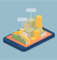 mobile e-bank with currency concept vector image