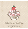 Mothers Day card with cupcake and wishes text vector image vector image