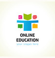 online education logo document online chat folder vector image vector image