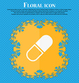 pill icon Floral flat design on a blue abstract vector image