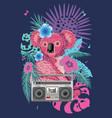 pink koala with boombox vector image vector image