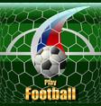 play football soccer ball on the field stadium vector image