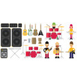 rock band flat set vector image vector image