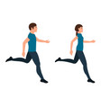 running guy and girl character in a flat style vector image vector image
