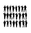 saluting army and soldier silhouettes vector image