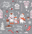 seamless pattern merry christmas friends vector image